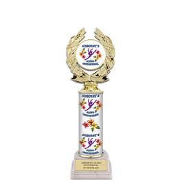 "11"" Design Your Own Gymnastics, Cheer & Dance Award Trophy w/ White HS Base"