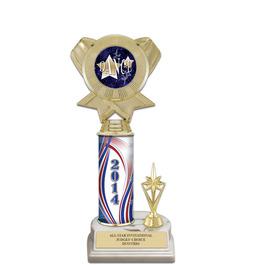 """11"""" White HS Base Gymnastics, Cheer & Dance Award Trophy w/ Trim & Insert Top"""
