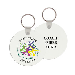 Round Gymnastics, Cheer & Dance Keychain w/ Print on Back
