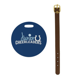Round Gymnastics, Cheer & Dance Luggage Tags w/ Brown Leather Strap