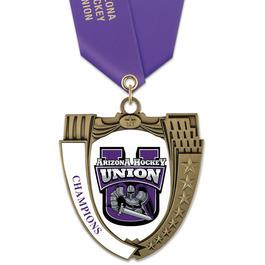 MS14 Mega Shield Hockey Award Medal w/ Any Satin Neck Ribbon