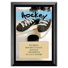 Hockey Black Wood Plaque