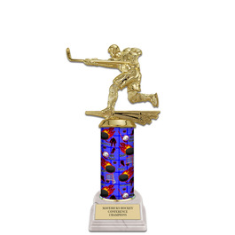 "10"" White HS Base Hockey Award Trophy"