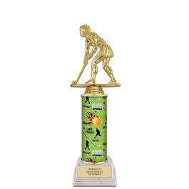 """11"""" White HS Base Hockey Award Trophy"""