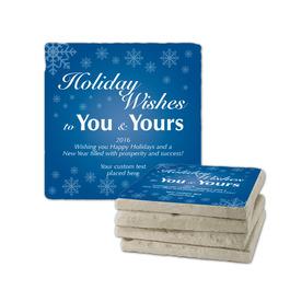 Holiday Wishes Tumbled Stone Coasters