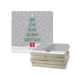 Joy Love Peace Tumbled Stone Coasters