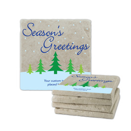 Season's Greeting Tumbled Stone Coasters