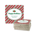Happy Holidays Holly Tumbled Stone Coasters
