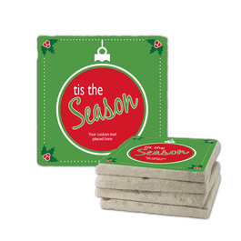 Tis the Season Green Tumbled Stone Coasters