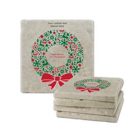 Warm Wishes Wreath Tumbled Stone Coasters
