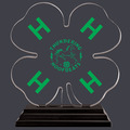 Full Color Clover Shaped w/ Green H's Acrylic Award Trophy w/ Black Base