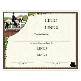 Custom Full Color Horse Show Award Certificate - Dressage Design