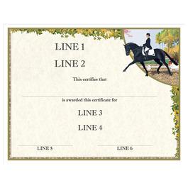 Custom Full Color Horse Show Award Certificate - Extended Trot Design