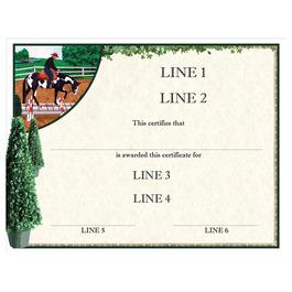 Custom Full Color Horse Show Award Certificate - Western Trail Design