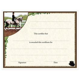 In-Stock Full Color Horse Show Award Certificate - Dressage Design