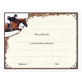 In-Stock Full Color Horse Show Award Certificate - Equitation Design
