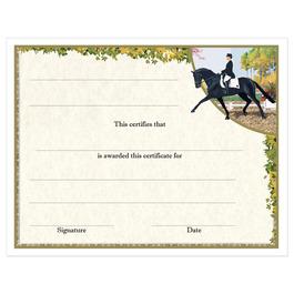 In-Stock Full Color Horse Show Award Certificate - Extended Trot Design