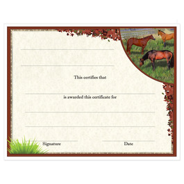 In-Stock Full Color Horse Show Award Certificate - Horses in Field Design