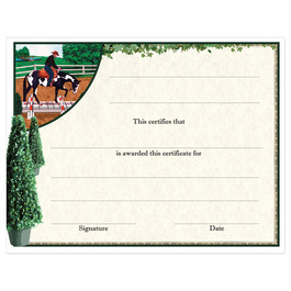 In-Stock Full Color Horse Show Award Certificate - Western Trail Design