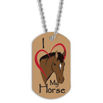 Full Color I Love My Horse Dog Tag