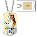 Personalized Clean Pony Dog Tag w/ Engraved Plate