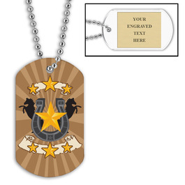Personalized Horse Shoe Dog Tag w/ Engraved Plate