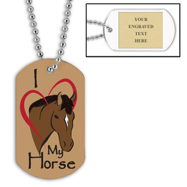 Personalized I Love My Horse Dog Tag w/ Engraved Plate