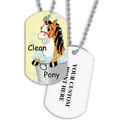 Personalized Clean Pony Dog Tag w/ Print on Back