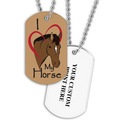 Personalized I Love My Horse Dog Tag w/ Print on Back