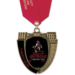 MS14 Mega Shield Horse Show Award Medal w/ Satin Neck Ribbon