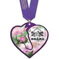 Custom Shape Birchwood Horse Show Award Medal w/ Satin Neck Ribbon