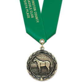 HBX Horse Show Award Medal w/ Satin Neck Ribbon