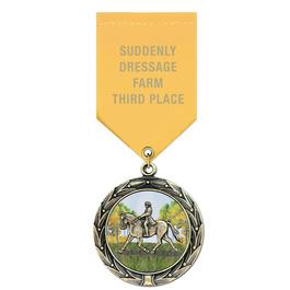 HBXC Color Fill Horse Show Award Medals w/ Satin Drape Ribbon