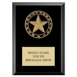 Rising Star Horse Show Medal Award Plaque - Black Finish