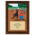 Barrel Racing Award Plaque - Cherry Finish