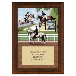 Combined Training Horse Show Award Plaque - Cherry Finish