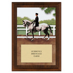 Dressage Horse Show Award Plaque - Cherry Finish