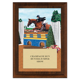 Equitation Horse Show Award Plaque - Cherry Finish