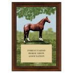 Full Horse Horse Show Award Plaque - Cherry Finish