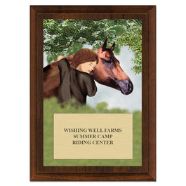 Horse & Child Horse Show Award Plaque - Cherry Finish
