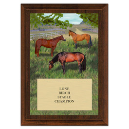 Horses in Field Horse Show Award Plaque - Cherry Finish