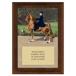 Saddle Seat Design Horse Show Award Plaque - Cherry Finish