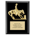 Barrel Racing Horse Show Award Plaque - Black Finish