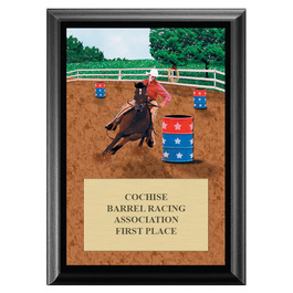 Barrel Racing Horse Show Award Plaque - Black