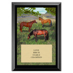 Horses in Field Horse Show Award Plaque - Black