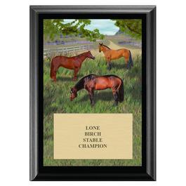 Horses in Field Horse Show Award Plaque - Black