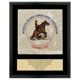 Full Color Horse Show Award Plaque  - Black w/ Tumbled Stone Tile & Engraved Plate