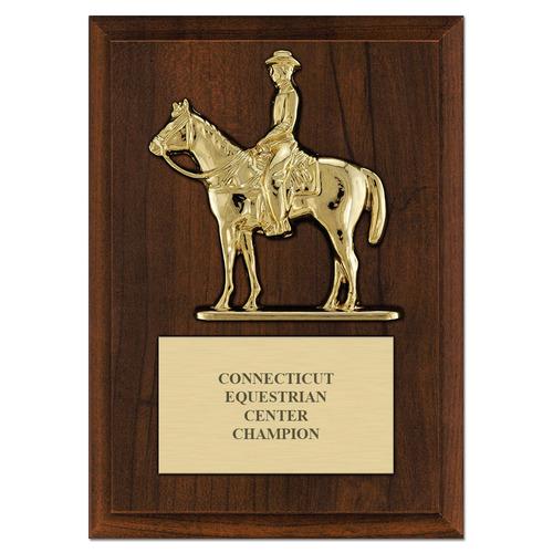 equestrian quarter horse w  rider plaque