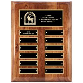Walnut Perpetual Horse Show Award Plaque