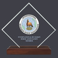 Diamond Acrylic Horse Show Award Trophy w/ Walnut Base